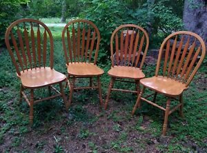 4 Matching Well-built Hardwood Chairs