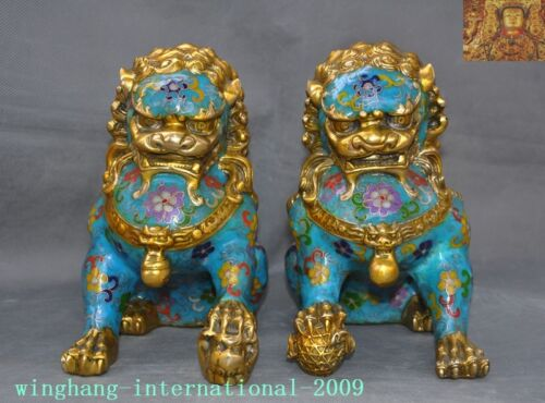 Old Chinese Dynasty bronze Cloisonne Fengshui Guardian Door Foo Dog Lion Statue
