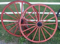 Antique Matching Pair of Wooden Wagon Wheels 36 In Diameter