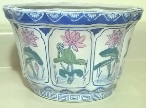 Chinese Oval Ceramic Flower Pot with Fresh Lotus Flowers