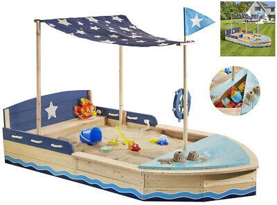 Sun Großer Sandkasten Sternen-Schiff mit Dach Holzsandkasten Sandkiste Boot Holz