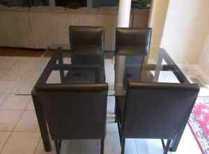 Glass Table & 4 Faux Leather Chairs