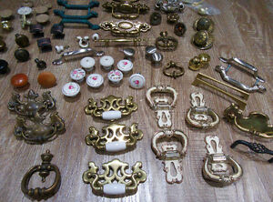 75 vintage and antique knobs, handles for dressers, side tables