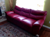 Red sofa and love seat
