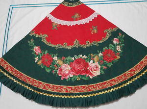 Large Hand Made Quilted Poinsettias and Roses Christmas Tree Ski