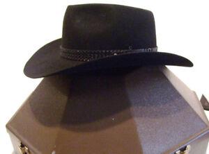 Akubra Black Cowboy Hat Australian Outback with Hard Case