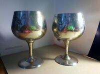 A Pair Of Silver Plated Goblets Short Small 11cm Good Condition