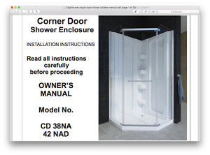 "Mirolin 38"" NEO ANGLE PIVOT SHOWER DOORS"
