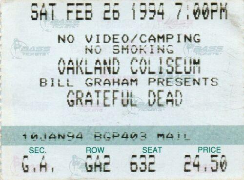 GRATEFUL DEAD TICKET STUB   02-26-1994  OAKLAND COLISEUM