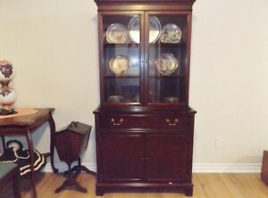 Solid cherry wood china cabinet hutch