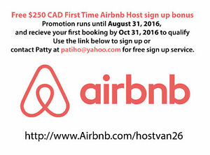 Free $250 bonus First tIme Airbnb Host promo ends Aug 31