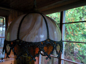 Antique Stained Glass Swag Chain Ceiling Chandelier