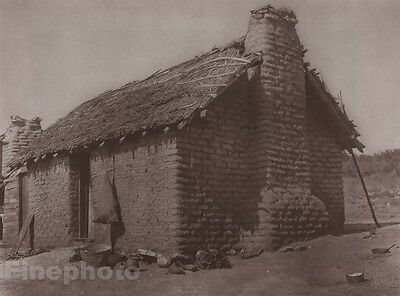 1900/72 Photo Gravure NATIVE AMERICAN INDIAN Architecture House Art CURTIS 11x14