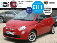 Fiat 500C 1.2 Pop 2dr CONVERTIBLE+ONLY 11.3K MILES+F/S/H+6 MONTH WARRANTY