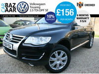 Volkswagen Touareg 2.5TDI DPF auto SE+F/VW/H+2 OWNERS+NAV+LEATHER+APRIL 18 MOT