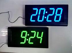 3D Modern Digital LED Wall Clock 24 Hour Display Timer Alarm  Decor Green