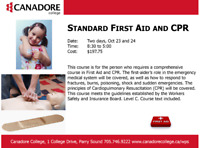 Standard First Aid and CPR, Canadore College, Parry Sound