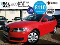 Audi A3 1.6TDI Sportback+4 NEW TYERS+NEW CAMBELT+£20 TAX+MARCH 2018 MOT