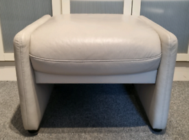 Beige leather footstool, great condition.