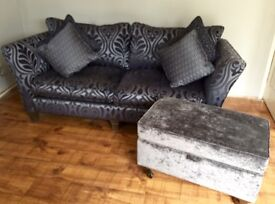 Large blue mix sofa with ottoman