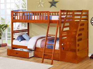 NEW! Twin/Twin Wood Bunk Bed w/ Storage Drawers, Free Delivery! Edmonton Edmonton Area image 9