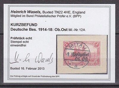 Deutsche Besetzungsausgaben 1914/1918 Ost 12 A gestempelt geprüft Fotobefund (1)