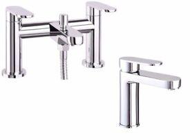 Brand new bath and basin mixer taps set.