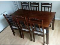 Dining Table and Six Chairs - Indian Satinwood - Very Good Condition