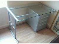 Large GLASS DESK with DRAWERS