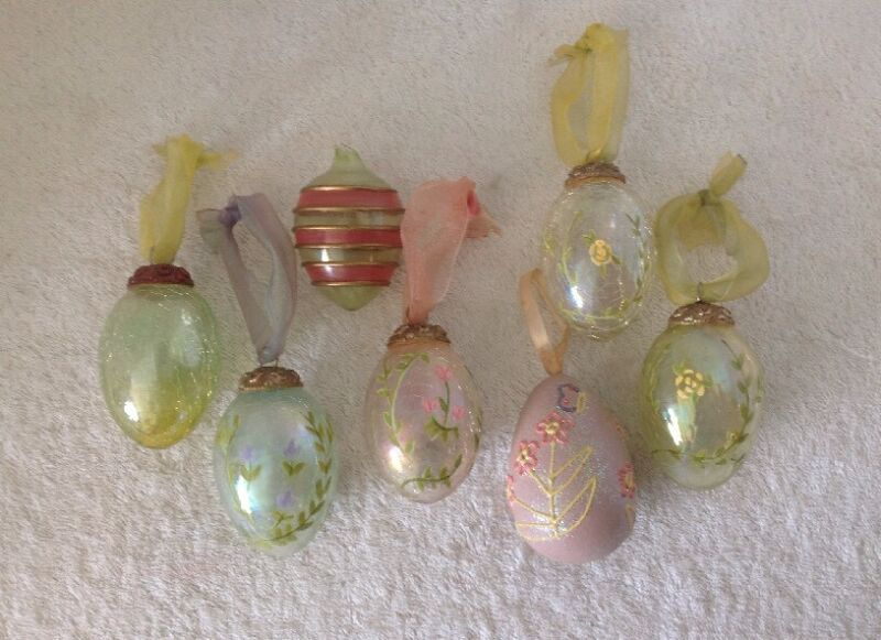 7 Easter / Spring Egg Ornaments KUGEL Style & Others Crackle Glass Painted