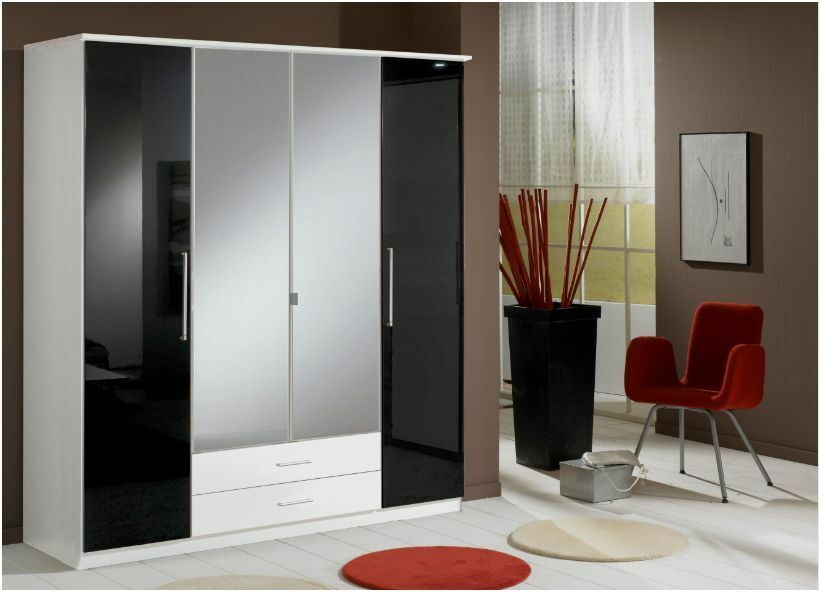 Berlin 4 Door Wardrobe German High Gloss Black And White Cupboard Closet