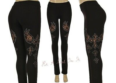 PLUS SIZE CRYSTAL BLACK TAUPE LACE CROSS CUT OUT STRETCH PANTS LEGGINGS 1X 2X 3X