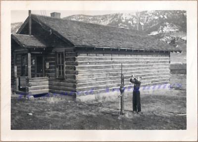 1950 Porcupine Creek Montana One-Room School House Log Cabin Boy at Well Photo