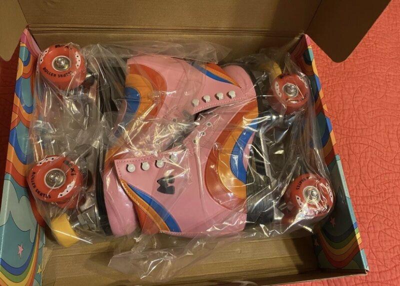Moxi Roller Skates: Rainbow Rider Pink Heart Size 8 Women size 9 New In Box