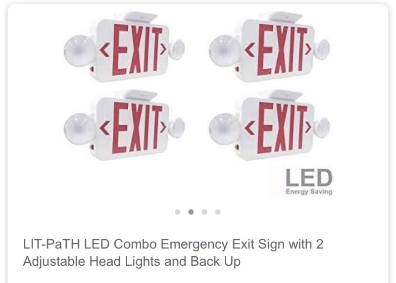 Lit-Path Led (4-Pack)  Combo Emergency Exit Sign With 2 Adjustable Lights