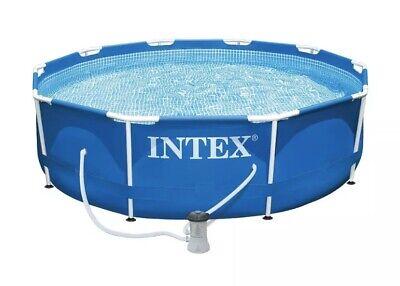 "Intex 10' x 30"" Round Metal Frame Backyard Above Ground Swimming Pool BRAND NEW"