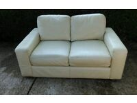 2 seater cream leather sofa from Ikea. Can Deliver