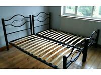 2x (or 1x) Black Metal Single Bed Frames