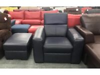 DFS Reinzo blue leather armchair and Footstool