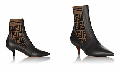New Fendi Rockoko Zucca Print Knit Trim Leather Ankle Boots Brown Size 40.5