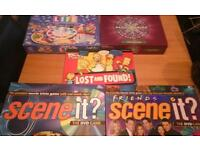 5 family board games, scene it, Simpsons, millionaire etc