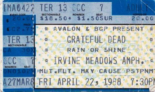 GRATEFUL DEAD TICKET STUB   04-22-1988  IRVINE MEADOWS AMPITHEATRE