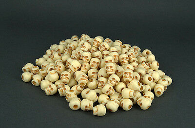 200 Natural Antiqued Skull Pony Beads 10mm - Paracord,Goth,Day of The Dead,Rave
