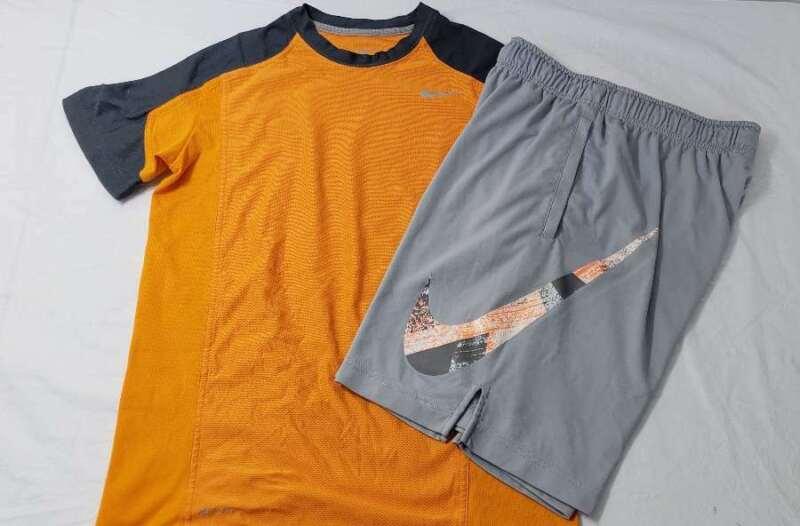 Nike Set Size Large L Boys Shirt Shorts DriFit Swoosh Orange Gray White