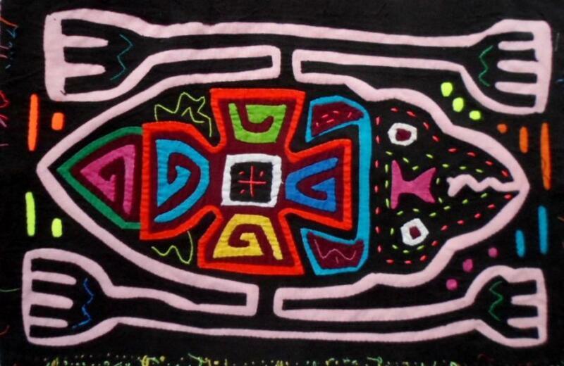 Kuna Indian Hand-Stitched Monster Man Mola-Panama 21021720mm