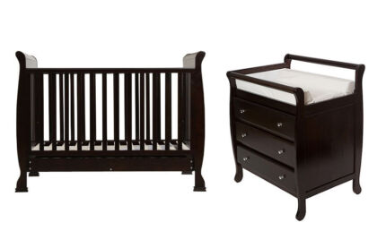3 in1 Wooden Sleigh Baby Cot with Mattress+3 Drawer Change Table
