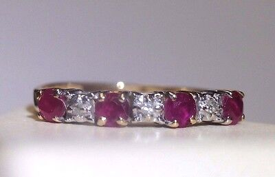 Natural Ruby and Diamond 10K Yellow Gold Ring Band Size 6