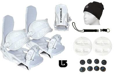 как выглядит Symbolic Snowboard Bindings Leash Beany Burton 3D Fit Mens Boots 9-15 L XL White фото
