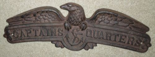 "Antique ""Captains Quarters"" Cast Iron Wall Plaque"