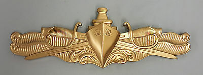 HUGE USN US NAVY SWO SURFACE WARFARE OFFICER GOLD INSIGNIA PLAQUE
